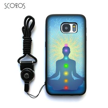 Chakra Yoga Silicone TPU Phone Case Cover For Samsung Galaxy S6 S7 S7 edge S8 S8 Plus