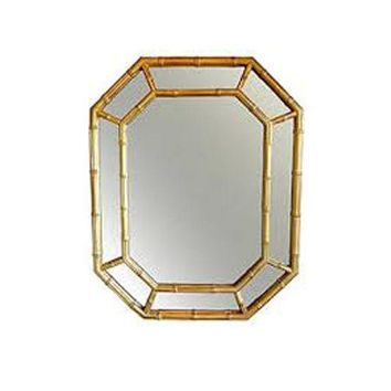 Pre-owned 1970s Gold Bamboo Mirror