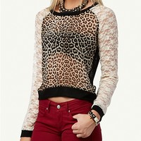 Leopard Lace Raglan Top