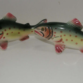 Vintage Napco Dolly Varden Trout Fish Salt & Pepper Shakers Set OLD JAPAN Ceramic