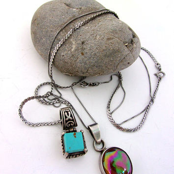 Two 2 Sterling Silver Pendant Necklaces, Turquoise Cube & Carnival Glass, Vintage
