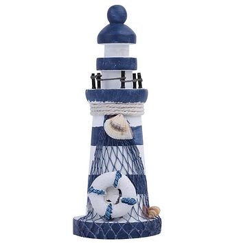 Nautical Wood Wooden Lighthouse Beacon Tower Beach Starfish Shell Home Room Bedroom DIY Decorative Crafts Ornament Gift