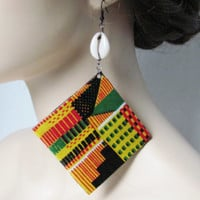 Afrocentric Jewelry Afrocentric Earrings Kente Cloth African Jewelry African Earrings Ethnic Jewelry Ethnic Earrings Women Jewelry Gift