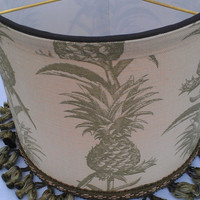 Pineapple Lamp Shade Drum/Beige Olive Green Designer Linen UpholsteryFabric/BrownGrosgrain/Green Olive Fringe/Handmade Trim/Washer Top