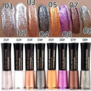 1PC Waterproof Glitter eyeshadow Diamond Pearl Colorful Mineral liquid Eye shadow Eye Liner Makeup Multicolor 8g