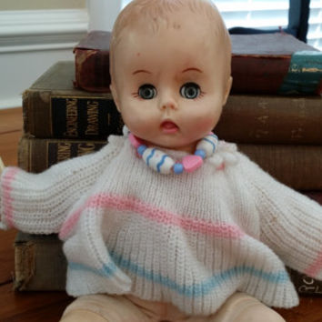Vintage Effanbee Baby Doll 1980 With Flutter Eyes Marked 8180 Great Collectible Creepy Decor