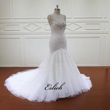 Sexy Mermaid V Neck Lace Wedding Dress Appliques Heavy Beaded Neckline Bridal Backless Dress Court Tail White Bridal Gown Tulle