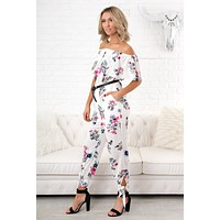 All My Daydreams Floral Jumpsuit (Ivory/Pink)