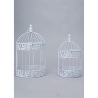 "Decorative White Metal Bird Cage Set<br>2 per Set<br>16"" Tall x 7.5"" Wide and 19.25"" Tall x 9.75"" Wide"