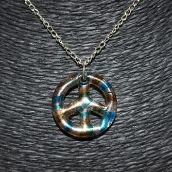SALE: Murano Glass Peace Sign Pendant Necklace