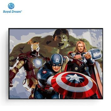 The Avengers Poster Hand Painted Canvas Pictures for Living Room Digital Oil Painting By Numbers On Canvas