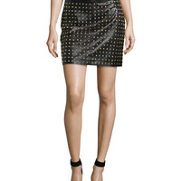 Straight Leather Skirt with Allover