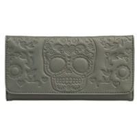 Embossed Sugar Skull Fashion Wallet by Loungefly (Grey)