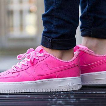 DCCKBE6 Nike Air Force 1 GS AF1 314219-615 Pink For Women Men Running Sport Casual Shoes Sneakers