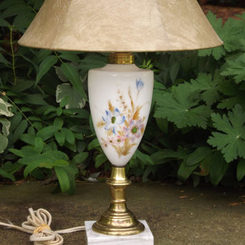 Vintage Lamp, White Table Lamp, Lamp with Flowers, Marble Base Lamp, Pretty Floral Lamp