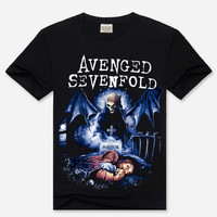 Black Hipster Avenged Sevenfold Print 3D Short Sleeve Graphic T-Shirt