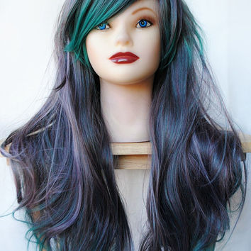 SALE Green wig, cosplay wig, scene wig, emo wig // Gray Teal Hair // Lolita Cosplay Punk Rock Scene // Long Curly // Emerald Moonstone
