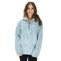 The Original Frosty Tipped Pile 1/2 Zip Pullover in Aqua by True Grit