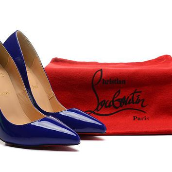 Christian Louboutin Royal Blue Patent Leather High Heels 120mm