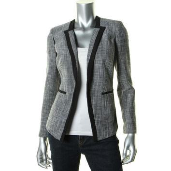 Calvin Klein Womens Tweed Open Front Collarless Blazer