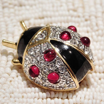 Vintage Joan Rivers Beetle Lady Bug Brooch Pave Rhinestone Swarovski Crystals Designer Couture Jewelry Animal Insect Pin by Joan Rivers
