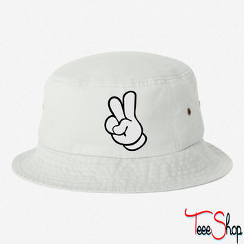 peace hands bucket hat