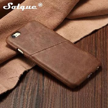 Solque Natural Real Genuine Leather Case For iPhone 5 5S SE 5SE Phone Luxury Slim Card Hard Shell Back Cover Retro Vintage Cases