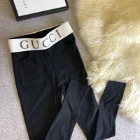 GUCCI Women Black Elastic Leggings Pants
