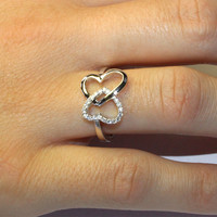 2 Interlocked Hearts Promise Ring on Hand