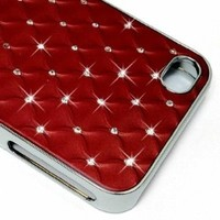 LiViTech(TM) Cushion Quilted Designer Diamond Rhinestone Crystal Bling Case iPhone 4 4S (AT&T ,VERIZON,SPRINT) (Red)