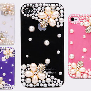 Free Phone Case & Luxury Bling Pearl Flower Style DIY Deco Kit Decoden Kit Cabochon Deco Kit For DIY Cell Phone iPhone 4G 4S 5 Case