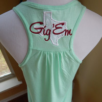 Lace Texas Appliqued Racerback Tank - with Monogram or Saying