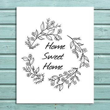 "Digital Print ""Home Sweet Home"" Printable House Office Wall Art"