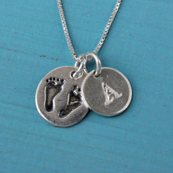 Baby feet necklace with name letter initial, 925 Sterling Silver, baby footprints, christening or baptism gift for new mom, mothers necklace