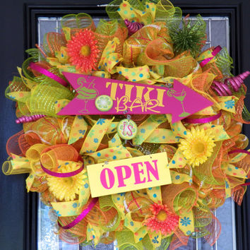 XL Spring/Summer Deco Mesh Wreath, Door Hanger, Decorative Wreath, Ready to Ship