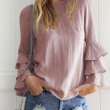 Coffee Round Neck Layered Fluted Sleeve Keyhole Button Top