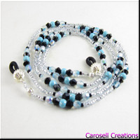 Beaded Eyeglass Holder or ID Badge Lanyard Turquoise Black and Silver Beads
