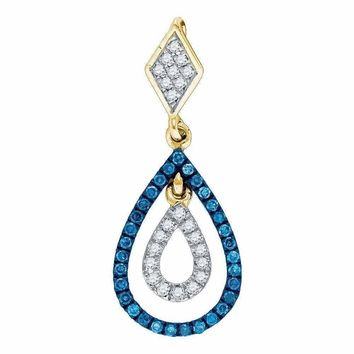 10kt Yellow Gold Women's Round Blue Color Enhanced Diamond Teardrop Pendant 1-5 Cttw - FREE Shipping (US/CAN)