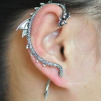 1pcs New Gothic Punk Game Of Thrones Dragon Animal Ear Cuff Stud Earring Jewelry