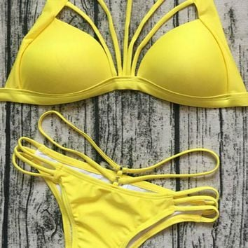 Low Waisted Halter Strappy Bikini Set