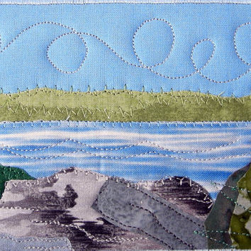 Fabric Postcard Lake Quilted Postcard Blue Water Lake Landscape  Landscape Greeting Card