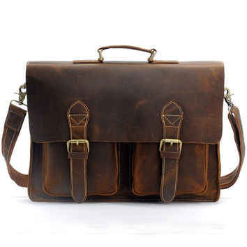 "Handcrafted Antique Leather Briefcase / Messenger / 14"" 15"" Laptop 13"" 15"" MacBook Bag"