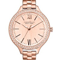 Caravelle New York by Bulova Women's Rose Gold-Tone Stainless Steel Bracelet Watch 37mm 44L125