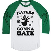 Haters Gonna Hate (Rudolph)-Unisex White/Evergreen T-Shirt