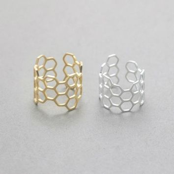 Honeycomb Adjustable Ring - Stainless Steel