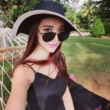 PEAP78W Factory Price, Fashion Women All-Match Wide Brim Sun Hat Summer Beach Vacation Folding Hat