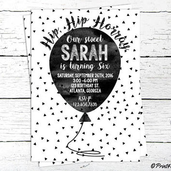 Balloon Invitation // Personalized Printable B&W Watercolour Balloon Birthday Invitation // Balloon Invite // Birthday Invite