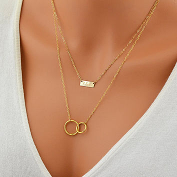 Layered Necklace, Personalized Infinity Necklace, Gold Layer Necklace, Rose Gold or Silver Chain