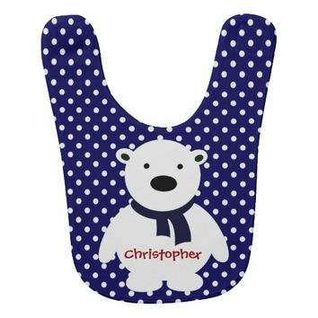 Cute Navy/White Polka Dots, Polar Bear, Add name