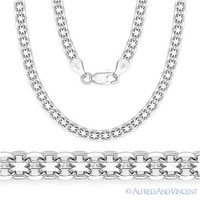 Solid .925 Sterling Silver Bismark 2.4mm Men's Link Chain Necklace Italy Italian